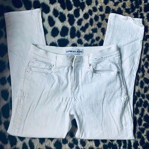 Express Mia white crop legging distressed jeans